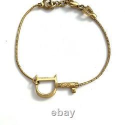 Christian Dior Vintage Gold Bracelet Chain Key Motif Signed Authentic