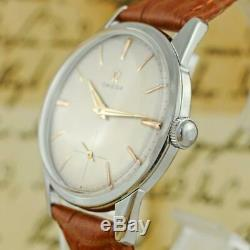 Classic Omega In St Steel Manual Wind Swiss Original Signed Vintage Watch