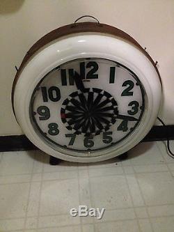 Cleveland Pin wheel clock Electric neon clock vintage sign gas station original