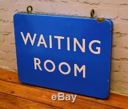 Double sided Waiting room british railway enamel sign rail antique vintage