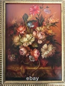 Dutch Oil Painting On Wood. Still Life Of Flowers In A Beautiful Gold Frame