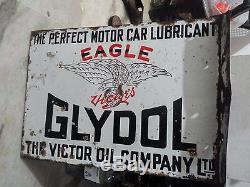 Eagle Motor Car Lubricant Oil Gas Station Garage Vintage Flange Porcelain Sign