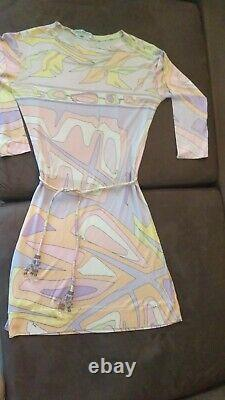 Emilio Pucci Signed Vintage 60s Pastel Psych Silk Knit Dress with Crystal Belt