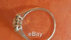 Estate Vintage 10k Gold Genuine Opal Halo Green Emerald Ring Signed CID