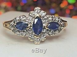Estate Vintage 10k Gold Natural Genuine Blue Sapphire Diamond Ring Signed Pdn