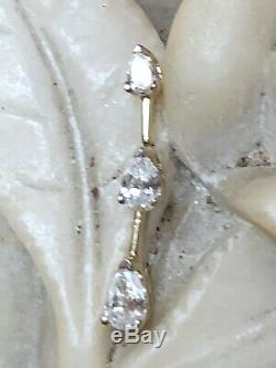 Estate Vintage 14k Gold 3 Diamond Pendant Signed Zei Kay Linear Necklace