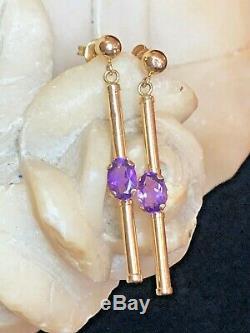 Estate Vintage 14k Gold Amethyst Earrings Gemstones Drop Dangle Signed S