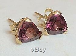 Estate Vintage 14k Gold Amethyst Earrings Gemstones Studs Designer Signed Rge