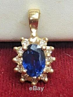 Estate Vintage 14k Gold Blue Sapphire & Diamond Pendant Halo Necklace Signed Vp
