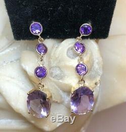 Estate Vintage 14k Gold Earrings Natural Amethyst Gemstone Drop Signed Atl