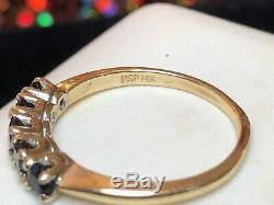 Estate Vintage 14k Gold Genuine Blue Sapphire Wedding Band Designer Signed Psp