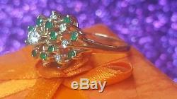 Estate Vintage 14k Gold Genuine Diamond Emerald Cluster Ring Flower Signed