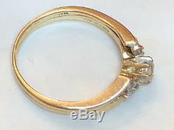 Estate Vintage 14k Gold Natural Diamond Ring Band Set Designer Signed Magic Glo