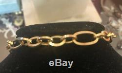 Estate Vintage 14k Solid Gold Bracelet Made In Italy Chain Designer Signed D