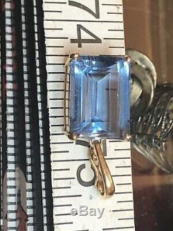 Estate Vintage 14k Yellow Gold Blue Topaz Pendant Enhancer Designer Signed
