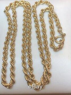 Estate Vintage 14k Yellow Gold Chain Necklace Made In Italy Signed Rope 16
