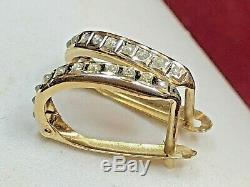 Estate Vintage 14k Yellow Gold Genuine Diamond Earrings Designer Signed Slc