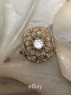 Estate Vintage Designer Signed Pandora Charm 14k Gold With Cubic Zirconia