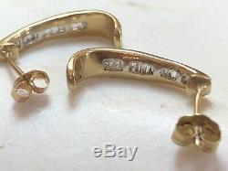 Estate Vintage Yellow 10k Gold Natural Diamond Earrings J-hook Signed Graduated