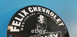 Felix Cat Chevrolet Porcelain Bow-tie Gas Vintage Style Trucks Service Sign