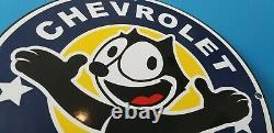 Felix Cat Chevrolet Porcelain Gas Auto Motor Vintage Style Trucks Service Sign