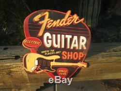 Fender Guitar Shop Electric LARGE Vintage Look Sign Metal Embossed licensed Cool