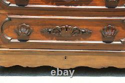 Fine Victorian Rosewood and Walnut Ohio Signed Marble Top Chest Dresser Ca. 1870