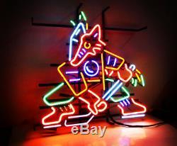 Fox Hockey Vintage Bistro Man Cave Beer Bar Pub Neon Sign Light Sports Team