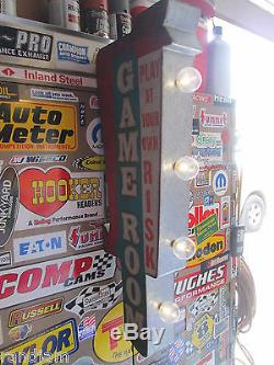 Game Room Arcade Game Metal Cool Sign Vintage Look Video Pinball Coin Amusement