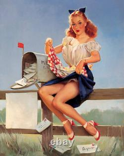 GIL ELVGREN ORIGINAL PAINTING Pin-Up GETTING POSTED FAN MAIL PinUp VINTAGE 40s