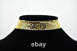 Givenchy Signed Statement Choker Necklace Chainmail Mesh Gold Vintage Runway Bn6