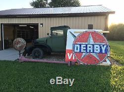 HUGE VinTaGE DERBY PORCELAIN Gas Oil Station Pump Pole sign Large DSP 6 FT! OLD