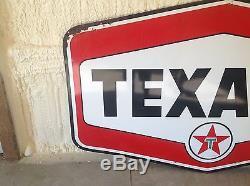 Huge Vintage Texaco Porcelain Gas Oil Station Pole Sign