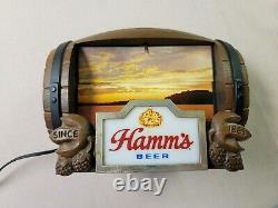 Hamms Lighted Beer Barrel Sign, 8 Flip Motion Scenes, Vintage 1960s Animated