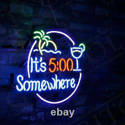 It's 500 Somewhere Real Glass Vintage Neon Sign Light Happy Beer Bar Decor