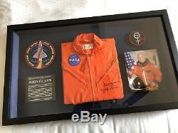 JOHN GLENN Autographed Vintage Signed NASA Flight Suit Museum Framed Display-JSA