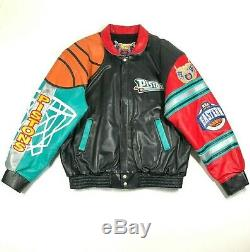 Jeff Hamilton Limited Ed Signed Mens XXL Leather Detroit Pistons Jacket VTG 90s
