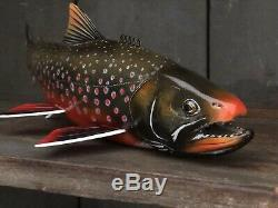 John Pususta Signed 2018 Dolly Varden Trout Fish Decoy