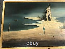 John Stancin Oil On Board Vintage MID Century Surrealist Landscape
