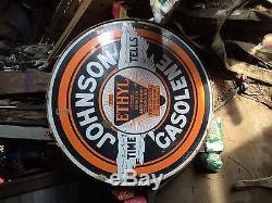 Johnson Motor Oil 48 inch big porcelain sign double sided gasolene vintage old