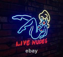 LIVE NUDES Hot Girl Boutique Beer Bar Custom Decor Vintage Neon Sign Poster
