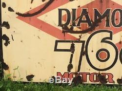 LQQK! ViNtAgE DIAMOND 760 MOTOR OIL Sign PORCELAIN Gas OLD Patina DX Man Cave