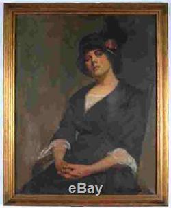 Large Antique Vtg Edith Harper Oil Portrait Lady Painting Framed Signed Woman