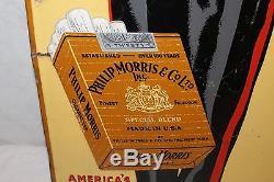 Large Vintage 1940's Philip Morris Cigarettes Tobacco 46 Embossed Metal Sign