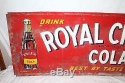 Large Vintage 1951 RC Royal Crown Cola Soda Pop Bottle 55 Embossed Metal Sign