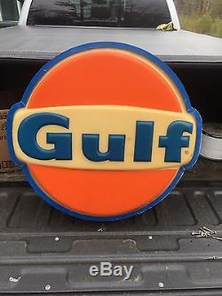 Large Vintage Gulf Gas Station Gasoline Motor Oil 28 Lighted