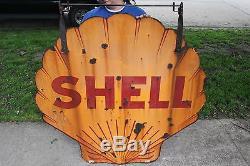 Large Vintage c. 1930 Shell Gas Station 2 Sided 48 Porcelain Metal Sign WithHanger