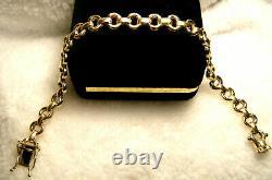 Lovely Vintage Signed 14k Italy Wide Bridle Bit Link Solid Yellow Gold Bracelet