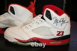 Michael Jordan Signed 1990 Original Nike Shoes OG 5 Air Vintage V Fire Red