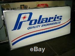 NOS OEM POLARIS DEALER LIGHTED DOUBLE SIDED SNOWMOBILE SIGN VINTAGE 6' x 3' TX